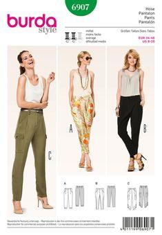 Burda Style Sewing PATTERN  6907  Pants  Sz 8 20 by TheNeedleShop (Craft Supplies & Tools, Patterns & Tutorials, fabric, burda, style, misses, pants, bottom, semi-fitted, womenswear, simplicity)