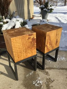 Urban Patina: Industrial inspired pine side tables