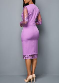 Long Sleeve Zipper Back Mesh Panel Dress Trendy Dresses, Tight Dresses, Elegant Dresses, Sexy Dresses, Casual Dresses, African Attire, African Fashion Dresses, Fashion Outfits, Dress Fashion