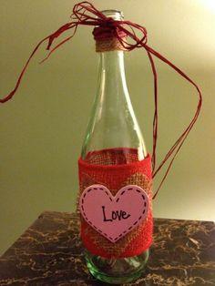 Burlap Heart Bottle by BakkCoBottlesandCork on Etsy, $18.00