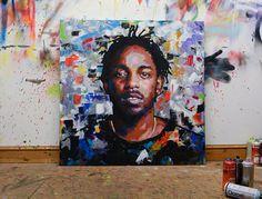 Kendrick Lamar Original Painting 40 52 Your Paintings, Original Paintings, Potrait Painting, Kendrick Lamar, Mixed Media Painting, Street Art Graffiti, Lovers Art, Art Inspo, Art Drawings