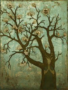 """Toivomuspuu"" (""Wish Tree"") by Finnis artist Piia Lehti I adore this. Deep Forest, Water Lilies, Tree Of Life, Natural World, Printmaking, Designer, Paper Art, Concept Art, Moose Art"
