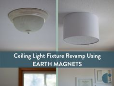 Embracing Simplicity: DIY Ceiling Light Fixture Revamp Using Earth Magnets and a Barrel Shade Best 'boob job' ever: Magnetic DIY light fixture shade to replace awful builder-grade glass cov Ceiling Light Covers, Light Fixture Covers, Diy Light Fixtures, Ceiling Fixtures, Ceiling Lights, Ceiling Light Diy, Replace Light Fixture, Apartment Lighting, Bedroom Lighting