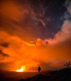 Ultimate Selfie Taken By Photographer On Rim Of A Hawaiian Volcano With Milky Way Background