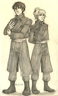 Fullmetal Alchemist Brotherhood - Roy and Riza. Fan art by burdge. I think it's obvious who my favorites are
