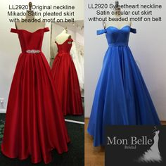 The beauty of custom design - Your dress your way - In your favourite color - Modest neckline OR Sweetheart neckline - Pleated skirt OR circle cut skirt - with OR without beaded motif on belt - Satin OR Mikado Satin - with OR without pockets The choice is yours as your dress is especially made for you. Bridesmaids, Bridesmaid Dresses, Prom Dresses, Formal Dresses, Belle Bridal, Princess Ball Gowns, Satin Color, Pleated Skirt, Evening Dresses
