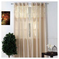 Yorkshire Home Karla Laser Cut Grommet Curtain Panel - Beige (108)