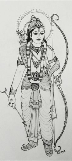Sri Rama Navami Special Drawing by Smt. Sowmya – Sage of Kanchi 3d Art Drawing, Art Drawings For Kids, Art Drawings Sketches Simple, Pencil Art Drawings, Girl Drawing Sketches, Mandala Art Lesson, Doodle Art Designs, Indian Art Paintings, Hindu Art