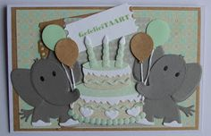 Card by Suzan with Collectables Eline's Elephant Cake Tab with Text UK ( and Craftables Tags & Tickets by Marianne Design Baby Cards, Kids Cards, Marianne Design Cards, Baby Shower Invitaciones, Kids Birthday Cards, Animal Cards, Punch Art, Scrapbooking, Paper Piecing