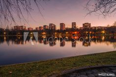 Residential living area in Bucharest with park and lake next door. The sunset colors the sky and the apartment blocks are reflected by the sunlight on the lake. Free stock photos to download (trial) Beautiful Landscape Images, Landscape Pictures, Sunset Colors, Seasons Of The Year, Bucharest, Lake View, Free Stock Photos, Living Area