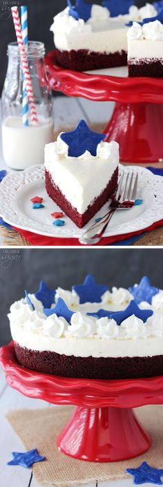 Red Velvet Blondie Cheesecake! A layer of red velvet blondie and no bake cheesecake topped with blue chocolate stars! Perfect for 4th of July!