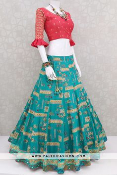 Majestic Teal Full Flair Navratri Chaniya Choli Set With Attractive Design & Work From Palkhi Fashion (4) Indian Dress Up, Indian Fashion Dresses, Indian Designer Outfits, Girls Fashion Clothes, Indian Outfits, Indian Wear, Designer Dresses, Kurti Designs Party Wear, Lehenga Designs