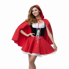 ==> [Free Shipping] Buy Best High Quality Little Red Riding Hood Costume Fancy Adult Hallowen Dressing Up Fantasia Feminina Christmas Costumes Plus Size 6XL Online with LOWEST Price | 32502542552
