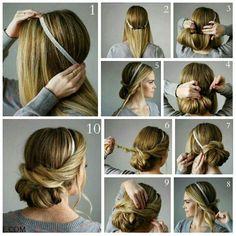 Beautiful hair updo using head band. Made on brown hair.