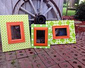 Fabric Covered Picture Frames Wood Frames Wedding Gift Birthday Gift Wall Decor Green and Orange Frame
