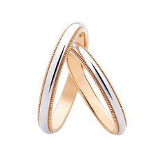 14k Gold milgrain wedding bands. Gold wedding by JewelryEscorial