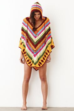 Crochet poncho with hood. . . great style! #crochet