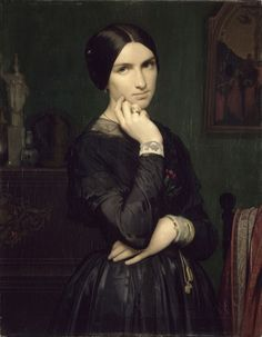 Portrait of Madame Flandrin 1846 Painting by Jean Hippolyte Flandrin Reproduction Lyon, The Woman In Black, Art Through The Ages, Victorian Hairstyles, Best Portraits, European Paintings, Aesthetic Images, Romanticism, Madame