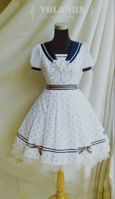 Yolanda Sea of Light in Summer OP Sailor Fashion, Lolita Fashion, School Summer Dresses, Sailor Dress, Navy Sailor, Sailor Style, Sailor Moon, Lolita Dress, Kawaii Fashion