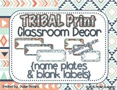 Use these TRIBAL PRINT nameplates and smaller labels to display names and organize and label items in your classroom. Includes EDITABLE version of nameplates and labels to type in your own words with your choice of font and color. Look for other matching tribal print decor and classroom products in my store, Dudge Designs.