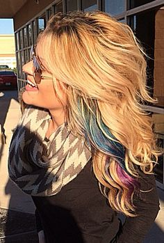 #Magenta #Teal #Blue Hair. Perfect peekaboo!