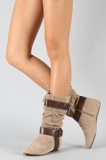 $28.20 Breckelle Boston-15 Suede Buckle Slouchy Boot