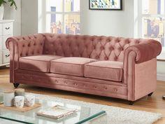 Sofá 3 plazas de terciopelo CHESTERFIELD - Rosa polvo