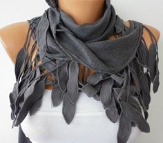Women Pashmina  Scarf   Cotton Scarf   Cowl with Lace  by fatwoman,