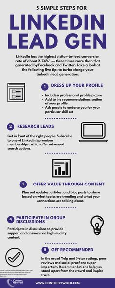 To learn more about using LinkedIn for lead generation, check out this great infographic from Content Rewired. Digital Marketing Strategy, Online Marketing, Social Media Marketing, Content Marketing, Marketing Software, Inbound Marketing, Affiliate Marketing, Opt In, Influencer Marketing
