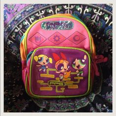 2459bb1714e4 Vintage Powerpuff Girl Mini Rave Backpack Super cute in awesome condition!  Has 2 pockets and adjustable straps! Great for adults   kiddos! Cartoon  Network ...