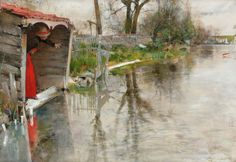 'Grez-sur-Loing', 1887 - by Carl Larsson | Privateje