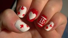 One Direction Nails love them and easy to do. Great idea for Vday!