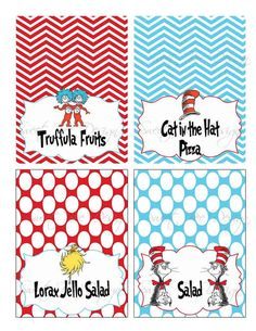 Dr Seuss Thing 1 & Thing 2 Birthday party by SweetBeeDesignShoppe, $8.00