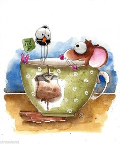 Mouse in a tea cup - messy tea bag