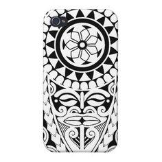 Polynesian Tattoo Drawings | Polynesian sun & mask tattoo design iPhone 4/4S cover
