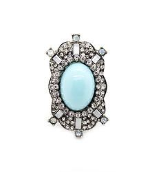 Blue Spirit - Stunning statement ring featuring a large oversized blue gem with art deco inspired rhinestone boarder  S/M fit