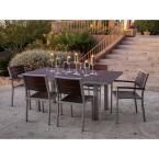 POLYWOOD Euro Textured Silver All-Weather Aluminum/Plastic Outdoor Dining Set in Mahogany Slats