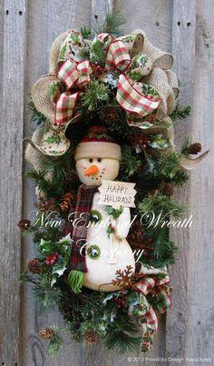 Happy Holidays Snowman Swag ~ A New England Wreath Company Designer Original~