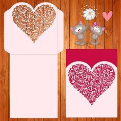 Invitación de la boda tarjeta plantilla corazon by thehousedesigns