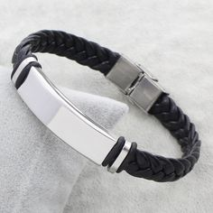 Hot Sale Punk Women Man Simple Steel Color ID Charm Stainless Steel Jewelry Bracelet Black Braid PU Leather Bracelet Bangles The Bangles, Ring Bracelet, Ring Necklace, Bangle Bracelets, Leather Cord Bracelets, Braided Bracelets, Braided Leather, Pu Leather, Beaded Jewelry