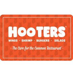 Hooters Gift Card - $25 $50 or $100 - Fast Email delivery Burger Salad, Shrimp Burger, Amazing Shopping, Gift Cards, Are You Happy, The Cure, The 100, Delivery