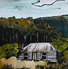 Tasmanian Settlers Cottage Handcoloured Lino by trees4thewood, $60.00