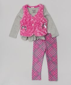 Another great find on #zulily! Pink Bow Faux Fur Vest Set - Infant, Toddler & Girls #zulilyfinds