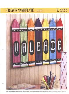 Crayon Nameplate Plastic Canvas Pattern