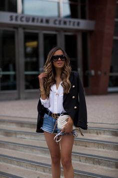 ShopStyle Look by MiaMiaMine featuring Lioness Palermo Blazer and Equipment Signature Blouse Casual Summer Outfits For Women, Short Outfits, Spring Outfits, Instagram Outfits, Teenager Fashion Trends, Look Con Short, Minimalist Street Style, Rome Fashion, Fashion Fashion