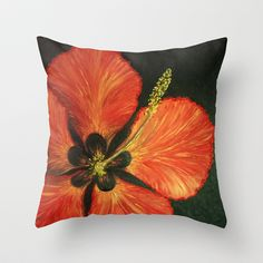 Red Tropical Hibiscus flower Throw Pillow by RokinRonda - $20.00