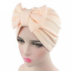 Women New Big Bow Turban Hat Hair Accessories India Europe Style Fashion Headdress Luxury Stylish Chemo Cap Women Bowknot Hat