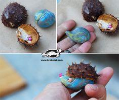 fall kids craft, hedgehog, clay, autumn, #knutselen, kinderen, basisschool, herfst, egel van klei en kastanjebolster