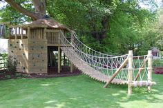 Playhouse and swing bridge