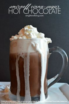 Cinna-Sugar Hot Chocolate w/ 8 oz Hot Chocolate, 1 Cup Whipping Cream, 2 Tbsp Smirnoff Cinna-Sugar Twist Flavored Vodka, 2 Tbsp Powdered Sugar. Prepare 8oz of your favorite hot chocolate! In a cold bowl, beat one cup of whipping cream until soft peaks form. Fold in Smirnoff Cinna-Sugar Twist Flavored Vodka and powdered sugar. Continue to mix until stiff peaks form. Top hot chocolate with whipped cream as desired. #Smirnoff #drink #recipe #fall